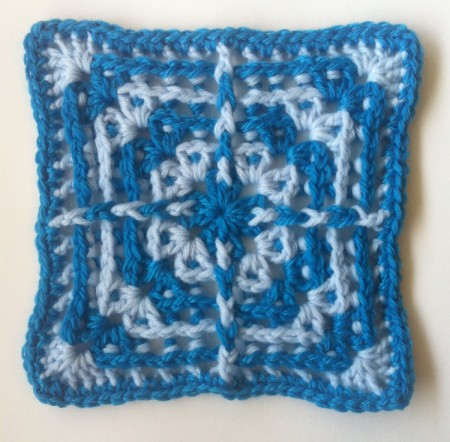 This is very similar to our skipping square, but the stitches are worked around the posts of stitches instead of in the top