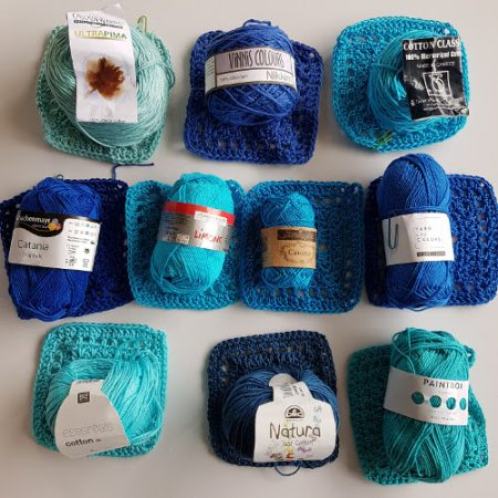 Cotton yarn test colour range by Shelley Husband